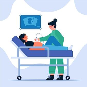 Flat dia internacional de la obstetricia y la embarazada illustration
