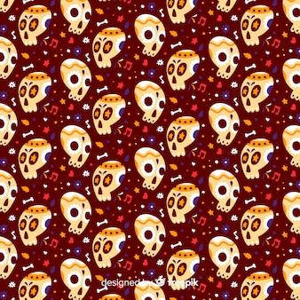 Flat día de muertos patrón marrón