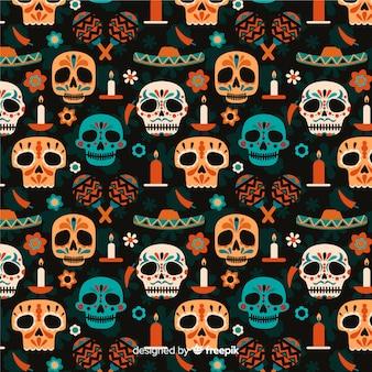 Flat día de muertos de patrones sin fisuras
