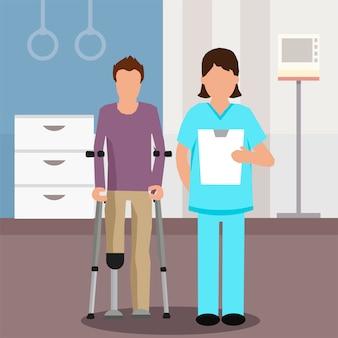 Flat doctor y paciente en centro de rehabilitación