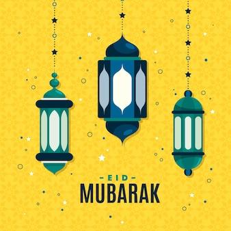 Flat eid al-fitr - ilustración de eid mubarak