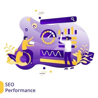 Flat illustration seo performance, el concepto de optimización de motores de búsqueda