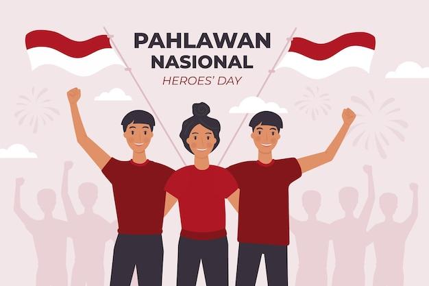 Flat pahlawan / día de los héroes