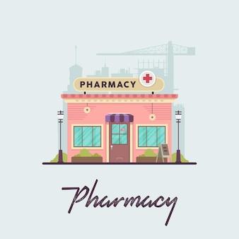Flat vintage pharmacy shop para video explicativo