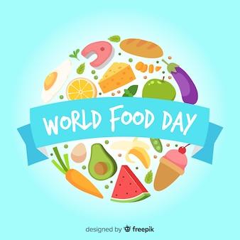 Flat world food day con frutas y verduras