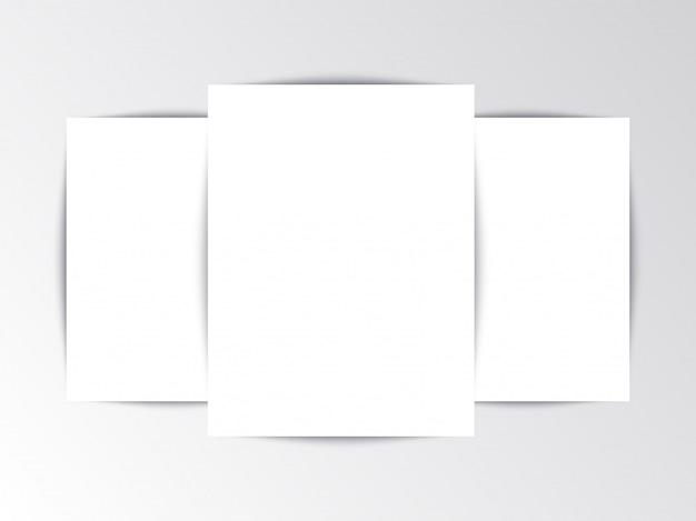 Flayer plantilla folleto en blanco sobre fondo blanco