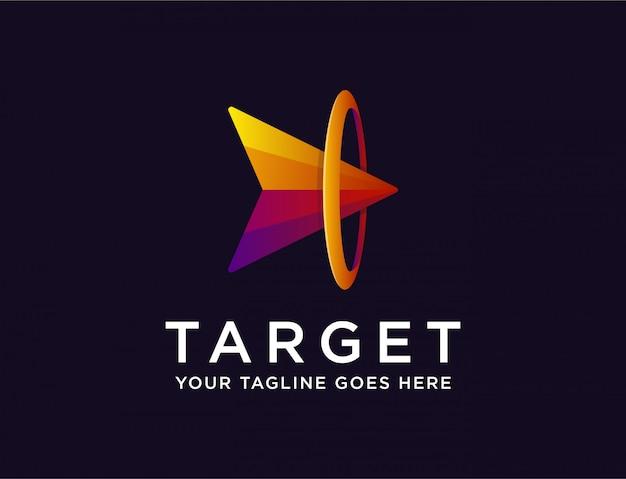 Flecha abstracta en blanco, logotipo de logro