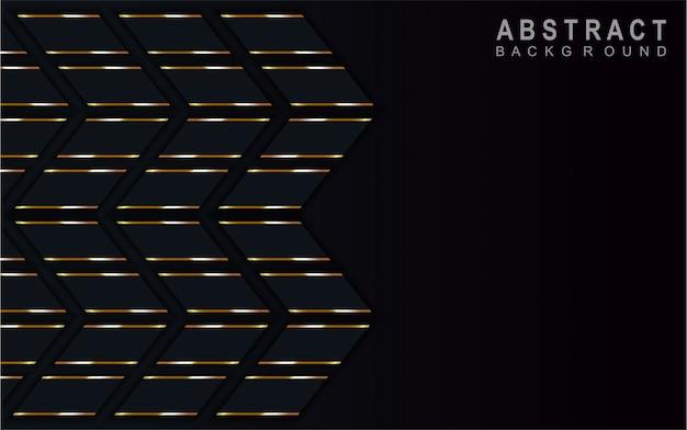 Flecha abstracta fondo azul oscuro en línea de oro.