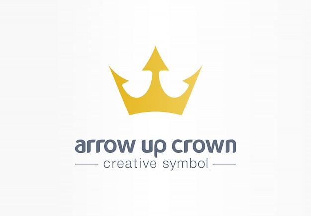 Flecha arriba corona de oro símbolo creativo concepto. crecimiento real, lujo, idea de logotipo de empresa abstracta de joyería premium. progreso, aumentar icono