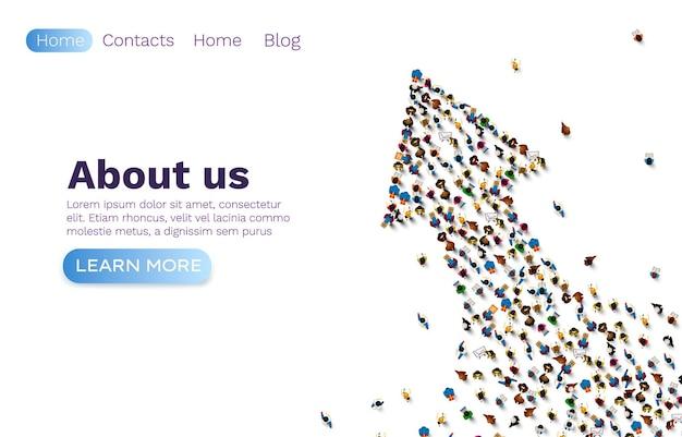 Flecha hacia arriba de personas, sitio web de red de grupo, trabajo en equipo de banner.