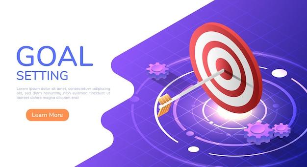 La flecha del banner web isométrico 3d golpeó el centro del gran objetivo