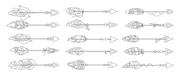 Flecha de boho con conjunto de dibujos animados de contorno de pluma. línea de plumas de aves étnicas. diseño hipster