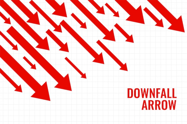 Flecha de caída comercial que muestra tendencia a la baja