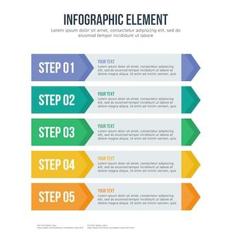 Flecha de cinco pasos de plantilla de infografía