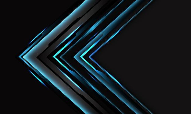 Flecha de circuito negro cibernético azul abstracto en gris oscuro con diseño de espacio en blanco moderno futurista