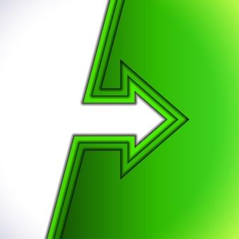 Flecha colorida con capas de papel de corte verde