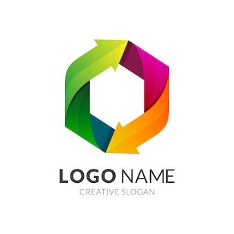 Flecha colorida y logotipo del hexágono