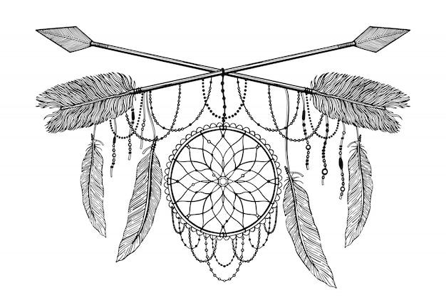 Flecha cruzando amuleto en ética y mandala en tatuaje estilo.