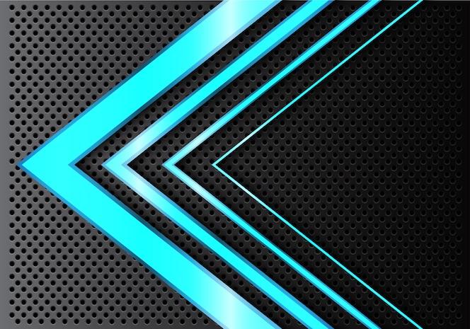 Flecha de luz azul abstracta sobre fondo de malla de círculo.