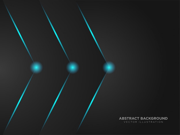 Flecha derecha abstracta diseño de color negro metálico tecnología moderna