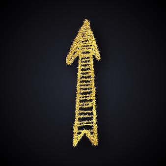 Flecha dibujada a mano de oro brillo. flecha de doodle con efecto de brillo dorado sobre fondo oscuro. ilustración vectorial