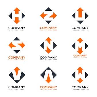 Flecha con diseño de logotipo de paquete de letras