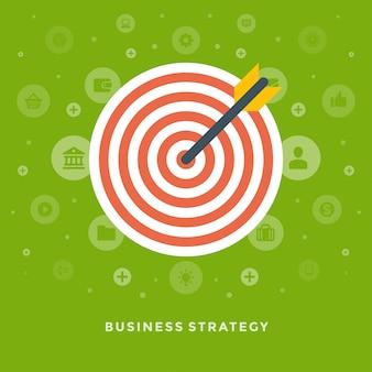 Flecha de diseño plano vector negocio ilustración concepto estrategia y dart board