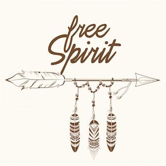 Flecha de espíritu libre con plumas