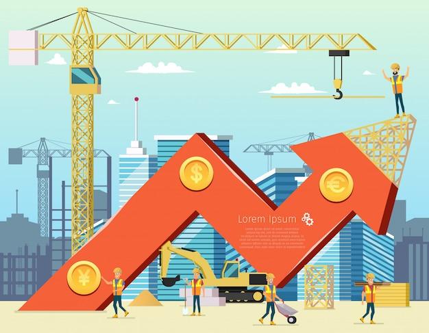 Flecha gráfico de comercio de costo de vivienda