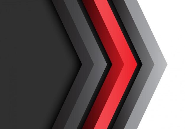 Flecha gris rojo negro dirección 3d fondo futurista.