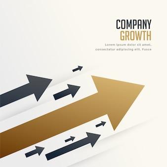 Flecha líder para el fondo del concepto de crecimiento de marca de la empresa