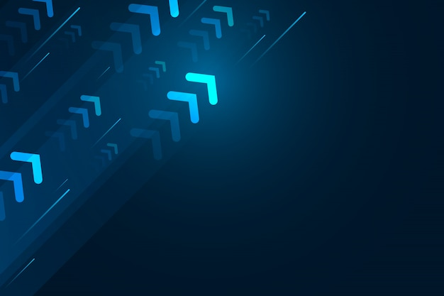 Flecha ligera hacia arriba con línea de velocidad sobre fondo azul, composición de espacio de copia, concepto de tecnología de velocidad digital.