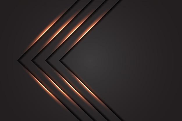 Flecha de línea de luz abstracta de lujo con fondo gris oscuro