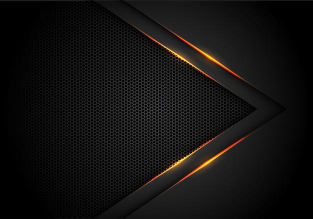 Flecha de luz amarilla en negro con fondo de malla hexagonal.