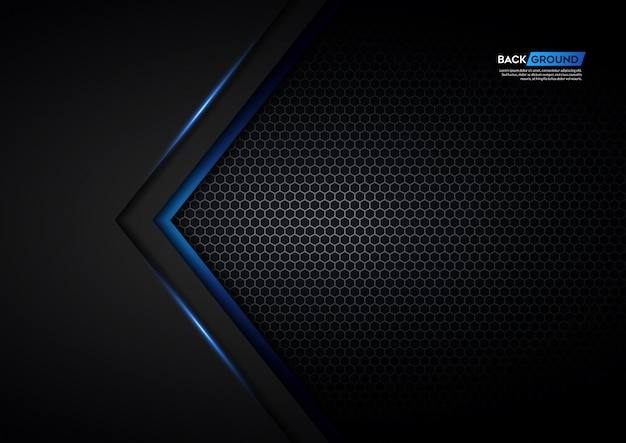 Flecha de luz azul negra con fondo de malla hexagonal