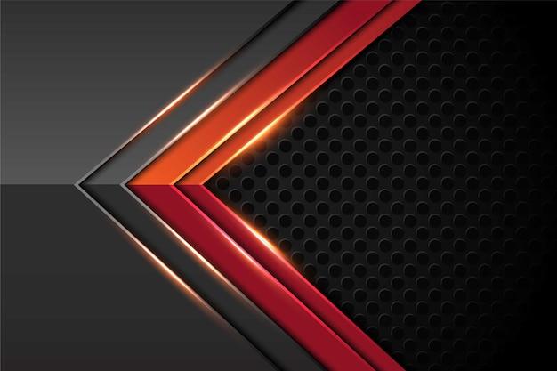 Flecha de luz roja abstracta en gris oscuro con diseño de patrón de malla de círculo fondo de tecnología futurista de lujo moderno