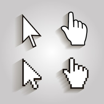Flecha de mano de mouse de cursores de píxeles.