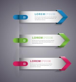Flecha moderna plantilla digital vector banner infografía.