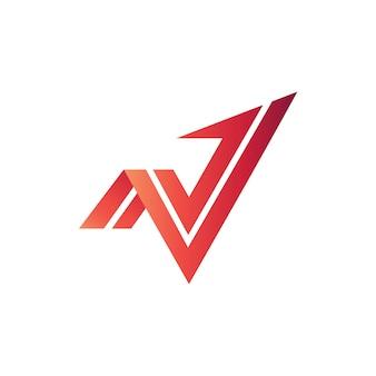 Flecha n y v logo vector