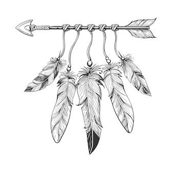 Flecha natividad vintage con plumas