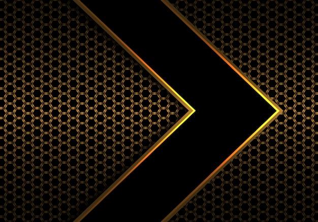 Flecha negra con línea dorada en malla hexagonal.