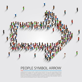 Flecha de personas isométrica, signo de grupo de flechas, ilustración vectorial
