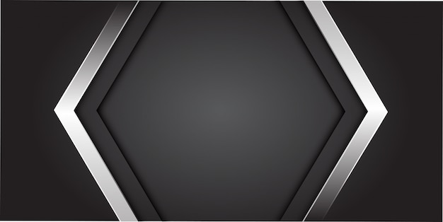 Flecha de plata en gris con fondo de centro de espacio en blanco.