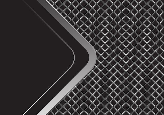 Flecha plateada curva espacio en blanco negro en malla cuadrada gris.