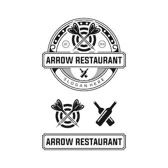 Flecha restaurante logo diseño premium plantilla stock
