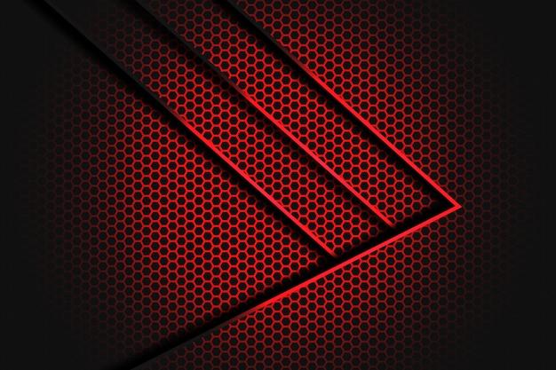 Flecha roja abstracta con contraste de línea en diseño de malla hexagonal oscura de lujo moderno futurista