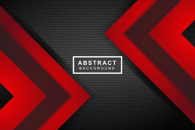 Flecha roja abstracta en el fondo futurista moderno gris oscuro del diseño del acoplamiento del círculo