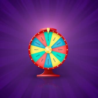 Flecha en la rueda de la fortuna apunta a la ranura del premio mayor. oportunidad de la rueda de la fortuna para ganar en la lotería. ilustración sobre fondo púrpura vintage