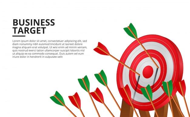 Flecha de tiro con arco en el tablero de destino rojo 3d. logro del objetivo empresarial