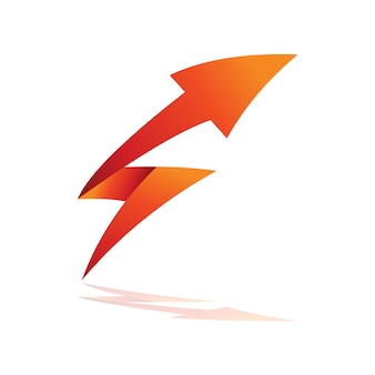 Flecha de trueno con logo inicial s